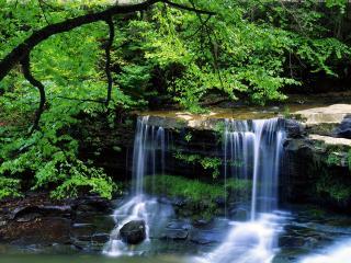 обои Небольшой водопад на небольшой речке фото