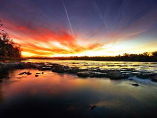 обои Красное небо заката над рекой фото