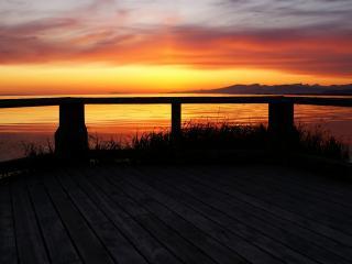 обои Красный закат на море фото