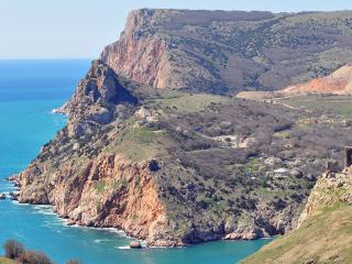 обои Широкий вид на горы с поселениями фото