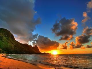 обои Море,  горы,  закат фото