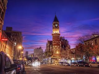 обои Башня с часами в городе фото