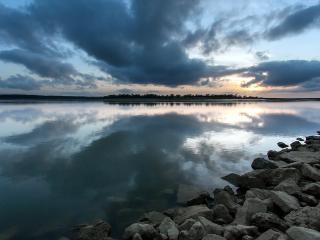 обои Озеро на закате фото