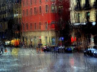 обои Дождливая погода за стеклом фото