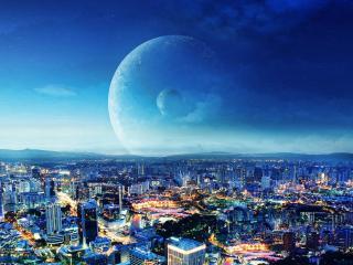 обои Многонаселенный город под небом вечерним фото
