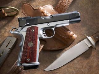 обои Пистолет боеприпасы нож фото