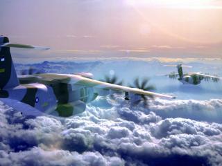 обои Красивая облачность и два грузовых самолета фото