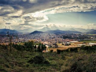 обои Вид города с горы фото