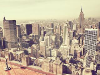обои Утро на крыше здания в городе большом фото
