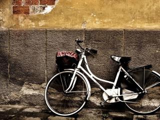 обои Стоит велосипед у старой стены фото