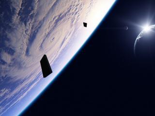 обои Темный космос и белая облачность фото