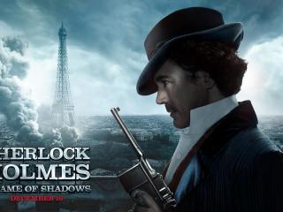 обои Шерлок Хоумс на фоне города фото