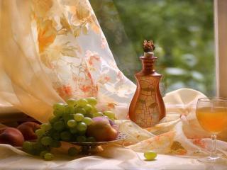 обои Вино,   фрукты и бабочка фото