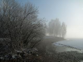 обои Туман на осенней реке фото