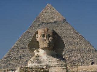 обои Сфинкс у пирамиды фото