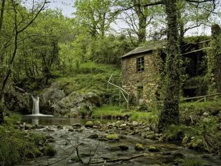 обои Заброшенный дом у маленького пруда с водопадом фото