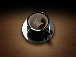 обои Кофе с пенкой в виде бабочки фото