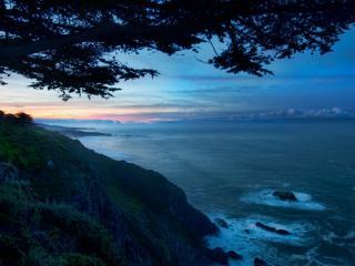 обои Морской берег на рассвете фото