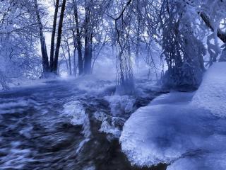 обои Бурная зимняя река фото
