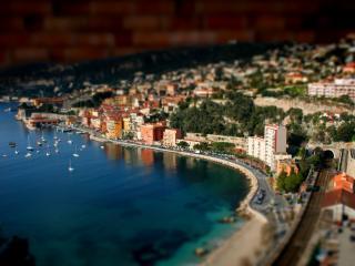 обои Вид пляжа у города фото