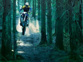 обои Мотоциклист на узкой лесной тропе фото