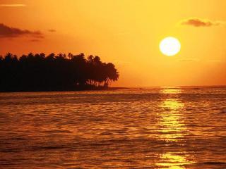 обои Оранжевый закат на море фото