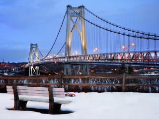 обои Зимний вечер у моста фото
