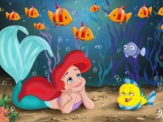 обои Ариэль лежит с другом на дне океана фото