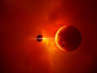 обои Красная галлактика и планеты фото