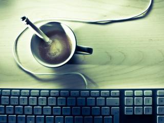 обои Чашка кофе и клавиатура фото