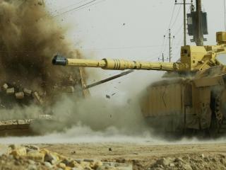обои Американский танк в бою фото