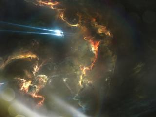 обои Лучи космических кораблей в космосе темном фото