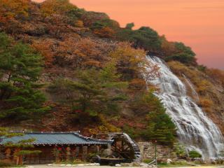обои Водопад и мельница фото
