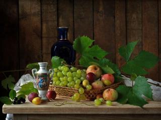 обои Натюрморт -  С виноградом и листьями фото
