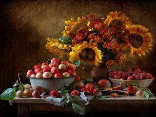 обои Натюрморт - Осеннее фруктовое счастье фото