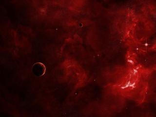 обои Разводы красного космоса и планеты фото