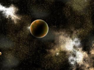 обои Планета на ыоне множества звезд фото