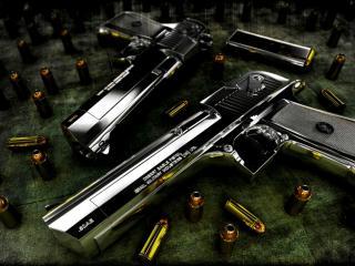 обои Два пистолеты и кругом пули фото