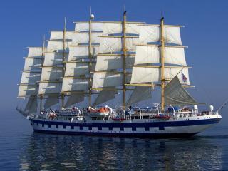 обои Красота белого парусника солнечным днем фото