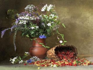 обои Натюрморт - Смородина и цветы фото