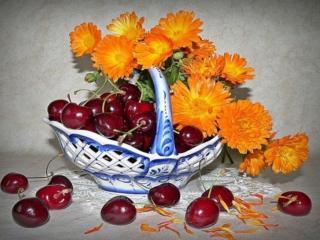 обои Натюрморт - Цветочно-фруктовая свежесть фото