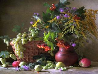 обои Натюрморт - Цветы и фрукты осени фото