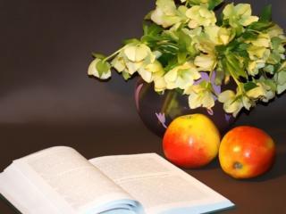 обои Натюрморт - Книга,   яблоки,   цветы фото