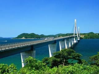 обои Длинный мост через реку фото