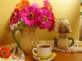 обои Цветы и чай с лимоном фото