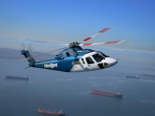 обои Вертолет над морем пролетает