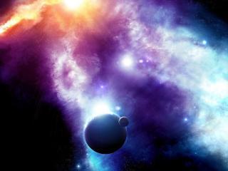 обои Космический свет падающий на планету со спутником фото