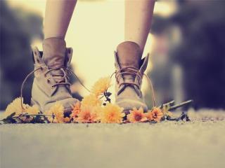 обои Ноги в ботинках топчут цветы фото
