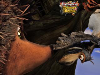 обои Приключение Алёнушки и Ерёмы - ворона пристает к ежику фото
