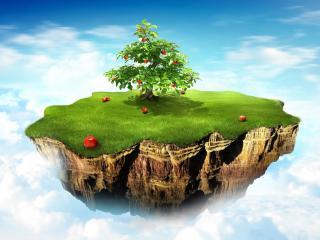 обои Зеленый остров с яблоней фото